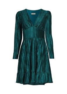 Shoshanna Laine Pleated V-Neck Dress