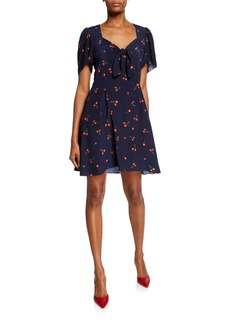 Shoshanna Lauret Cherry-Print Sweetheart Short-Sleeve Dress