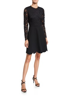 Shoshanna Laurian Galloon Lace Scallop-Hem A-Line Dress