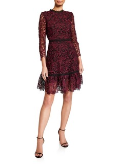 Shoshanna Layla Mulberry Leaf Lace A-Line Dress