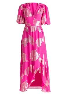 Shoshanna Leaf Puff-Sleeve Midi Dress