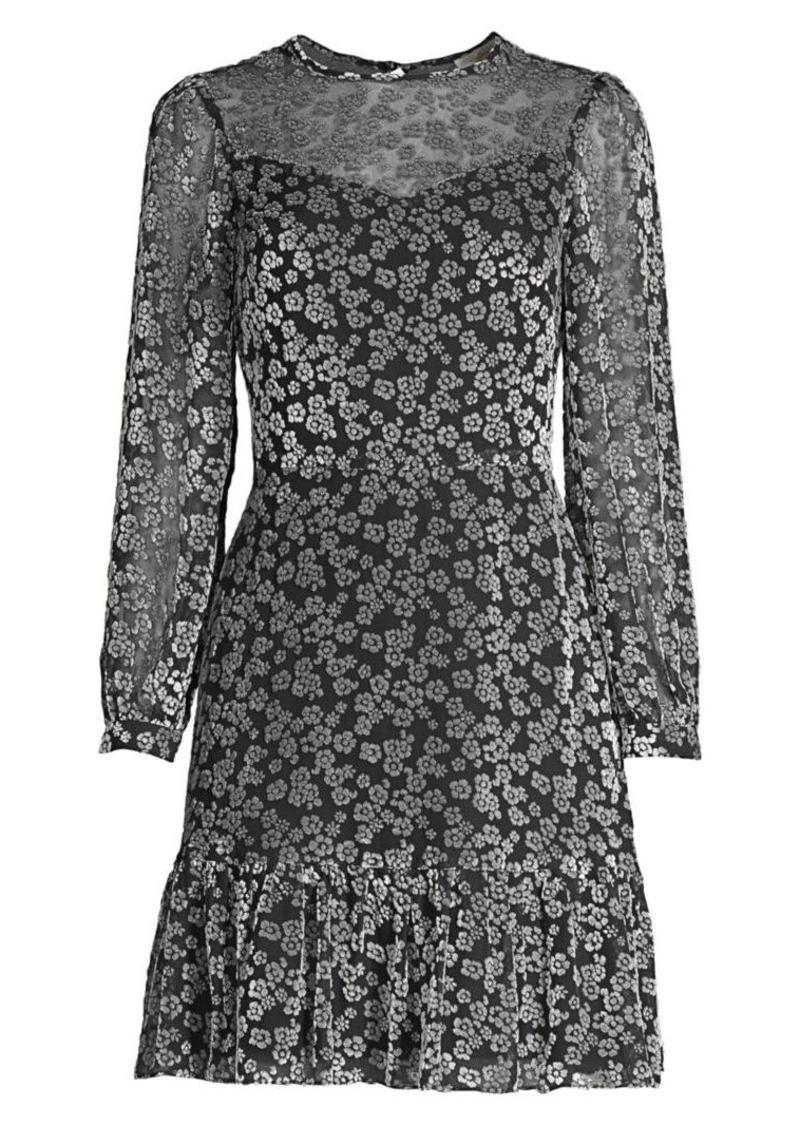 Shoshanna Lenette Velvet Floral Print Flounce Hem Dress
