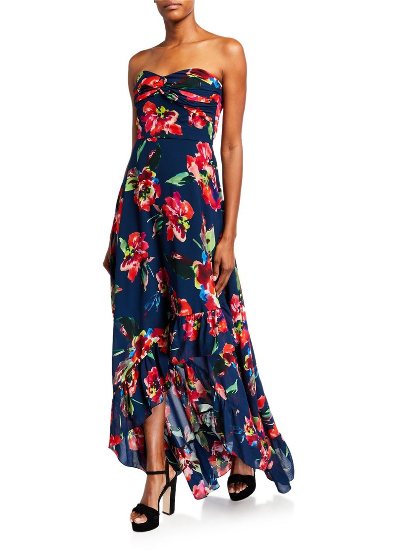 Shoshanna Leros Floral Toriana Strapless High-Low Gown