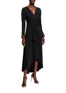 Shoshanna Luella V-Neck Long-Sleeve Draped High-Low Dress