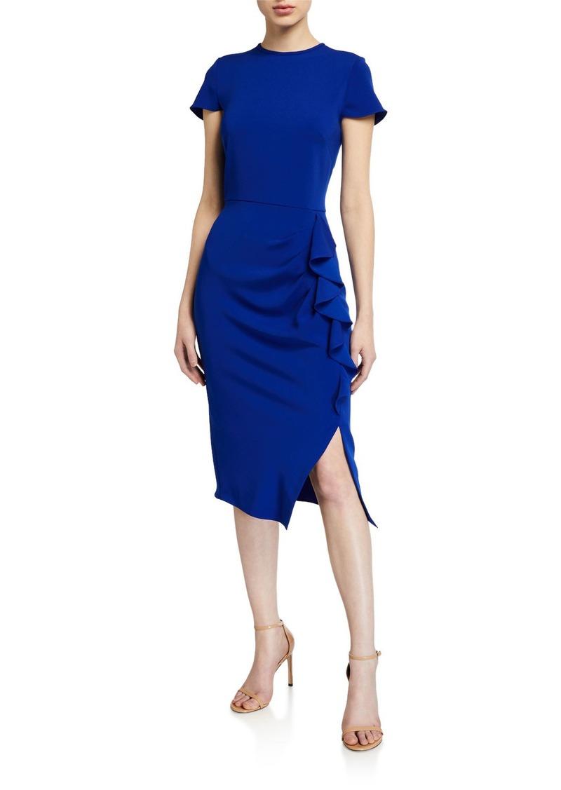 Shoshanna Lumilla Cap-Sleeve Side-Ruffle Stretch Crepe Dress