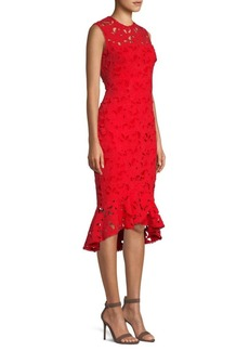 Shoshanna Macheri Floral Cut-Out Midi Dress