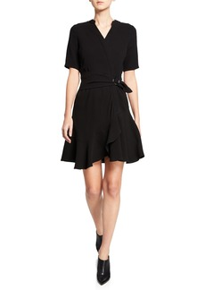 Shoshanna Magari Short-Sleeve Faux-Wrap Dress w/ Side Buckle
