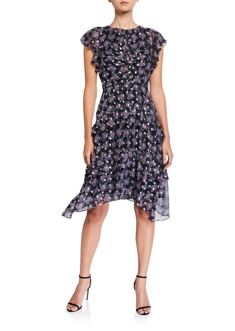 Shoshanna Maisie Cedar Floral Metallic-Print Flutter-Sleeve Dress
