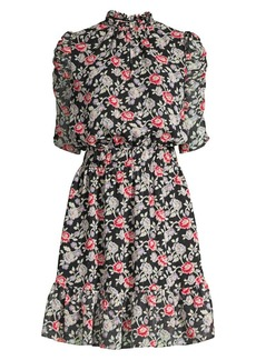 Shoshanna Malia Floral Print Mini A-Line Dress