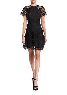 Shoshanna Malia Jardin Mesh Embroidery Sheer-Sleeve Dress