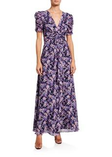 Shoshanna Marella Petetier Floral Silver Clip Dot Short-Sleeve Dress