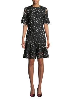 Shoshanna Marisol Ruffle-Trim Floral Lace Dress