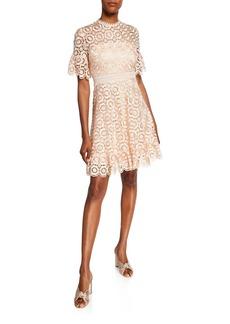 Shoshanna Marrakech Sora Daisy Lace Short-Sleeve Dress