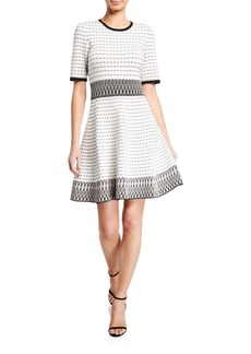 Shoshanna Mesa Half-Sleeve Fit-and-Flare Dress