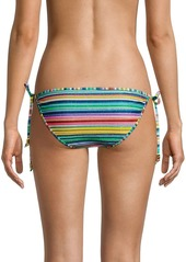 Shoshanna Metallic Stripe Tie Bikini Bottoms