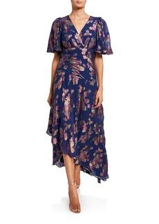 Shoshanna Minka Metallic Clipped Floral Short-Sleeve High-Low Dress