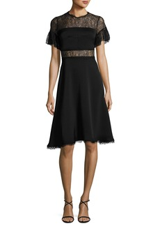 Shoshanna Mirada Short-Sleeve Lace Crepe Cocktail Dress