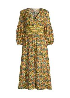 Shoshanna Monatero Floral Puff-Sleeve Dress