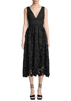 Shoshanna Monroe Sleeveless Midi Dress in Lace