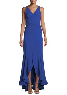 Shoshanna Montague V-Neck Gown w/ High-Low Hem