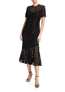 Shoshanna Morgan Geometric Velvet Lace Short-Sleeve Midi Dress