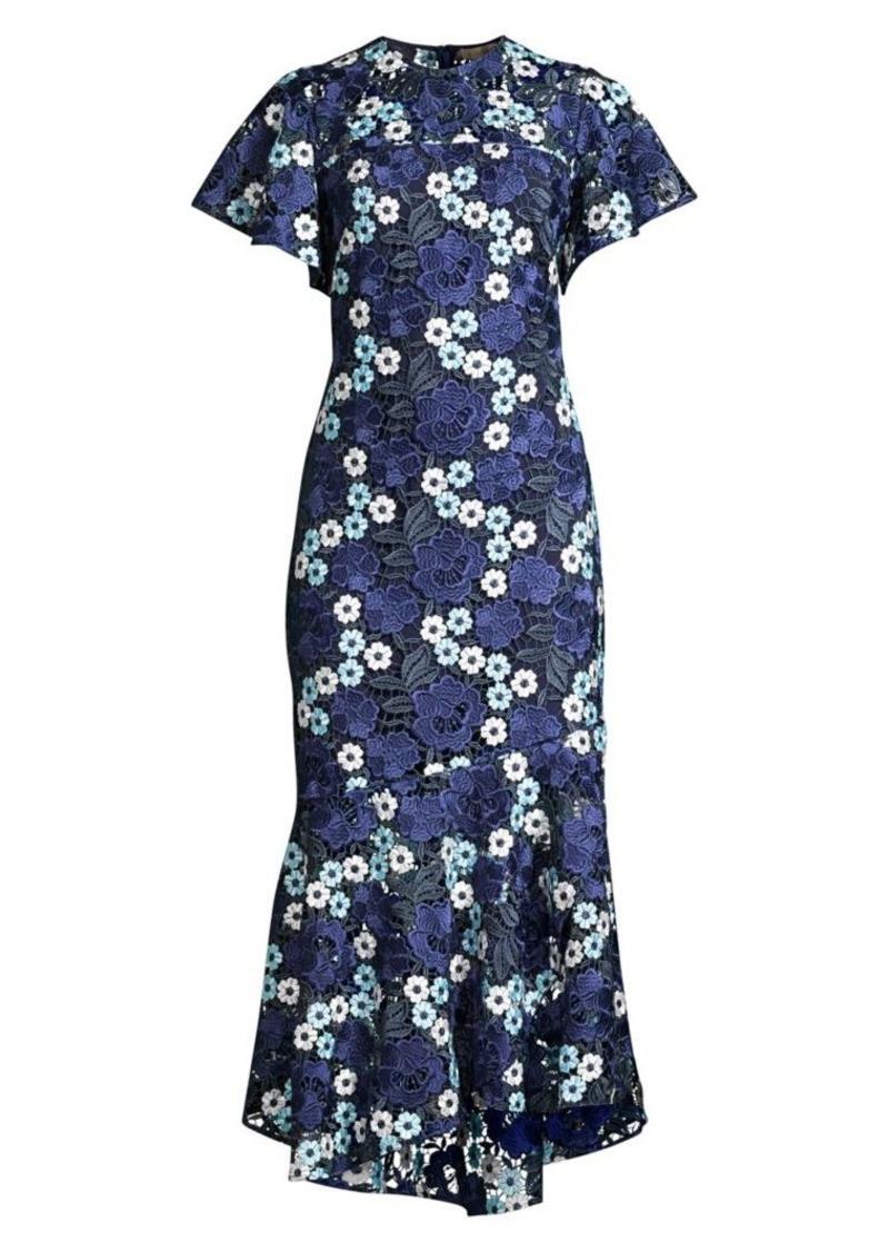 Shoshanna Nero Floral Embroidery Flounce Sheath Dress