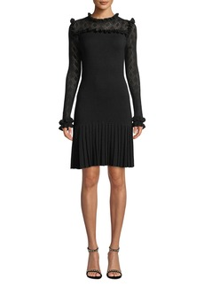Shoshanna Nicolla Wool & Sheer Long-Sleeve Dress