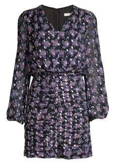 Shoshanna Olaya Floral Ruched Mini Blouson Dress