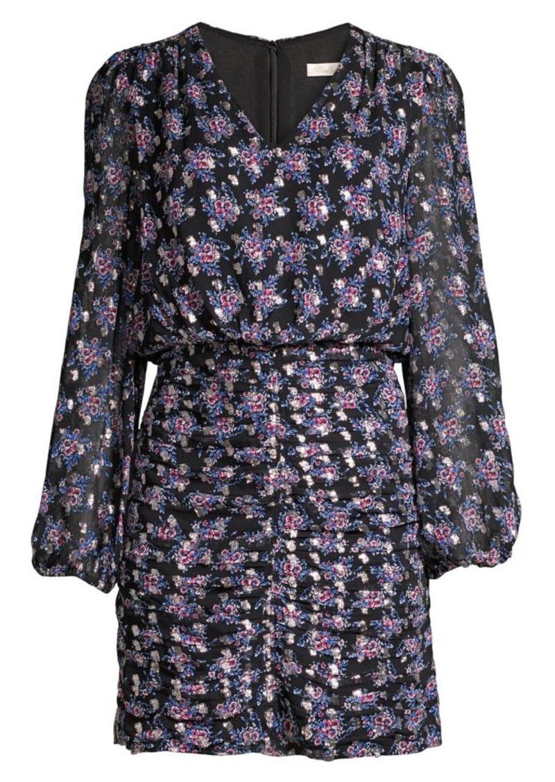 Shoshanna Olaya Floral Ruched Mini Blouson Dress