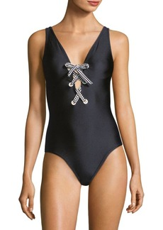 One-Piece Shiny Lace-Up Swimsuit