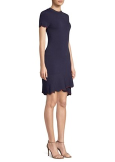 Shoshanna Pine Asymmetrical Flounce Sheath Dress