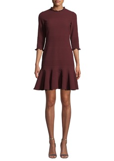 Shoshanna Piseco Rib-Knit Fit-&-Flare Dress