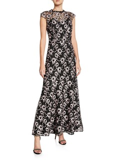 Shoshanna Raven Floral-Lace Overlay Cap-Sleeve Illusion Dress
