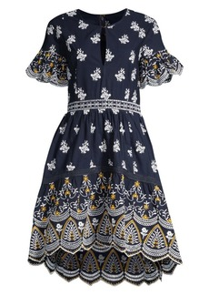 Shoshanna Richa Floral Embroidered Eyelet Fit-&-Flare