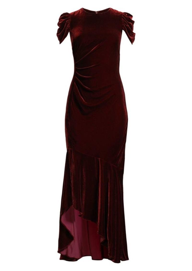 Shoshanna Ruched Cap-Sleeve Silk Velvet Column Gown