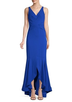 Shoshanna Satin V-Neck Mermaid Gown