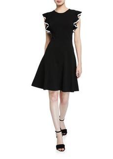 Shoshanna Saya Knit Ruffle-Trim Dress