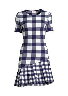 Shoshanna Selia Asymmetrical Gingham-Knit Dress