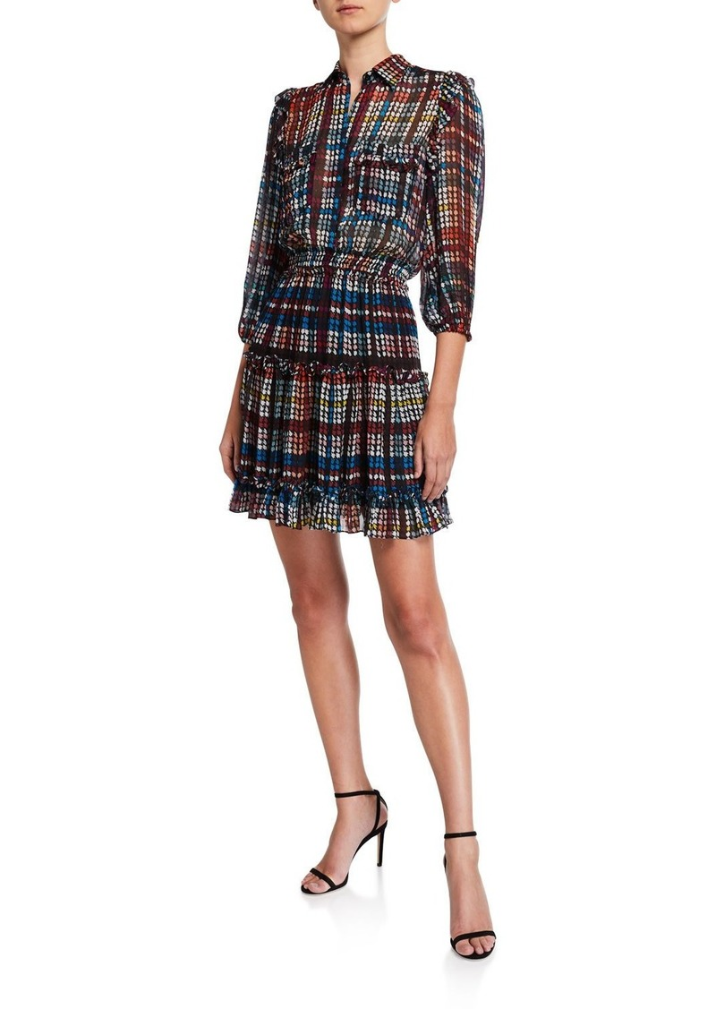 Shoshanna Selina Printed 3/4-Sleeve Smock-Waist Fit-&-Flare Dress