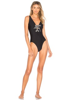 Shoshanna Shiny Black One Piece