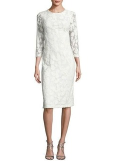 Shoshanna 3/4-Sleeve Embroidered Sheath Dress