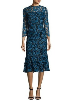 Shoshanna 3/4-Sleeve Lace Two-Tone Midi Dress