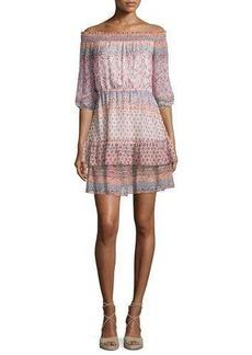 Shoshanna 3/4-Sleeve Off-the-Shoulder Printed Silk Dress