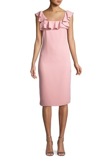 Abril Ruffle-Trim Sheath Dress
