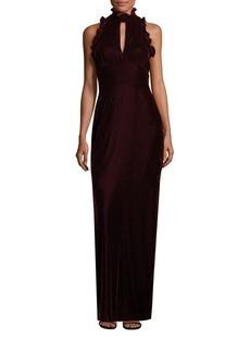 Shoshanna Alana Velvet Ruffle Gown
