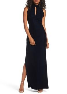 Shoshanna Alisa Ruffle Velvet Column Gown