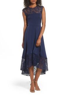 Shoshanna Allachie Lace & Crepe High/Low Midi Dress