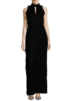Shoshanna Alyssa Sleeveless Mock-Neck Velvet Evening Gown