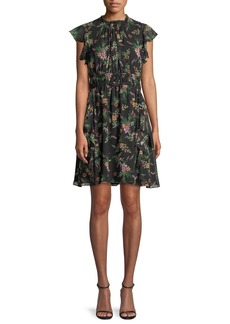 Shoshanna Amora Floral-Print Silk Flutter-Sleeve Mini Dress