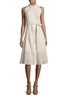 Shoshanna Ashland Sleeveless Belted Gingham Eyelet Dress